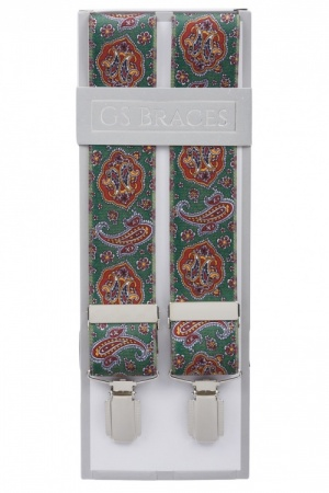 Mens Green Trouser Braces with Red Paisley Design